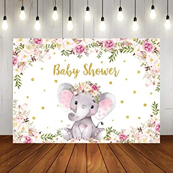 Amazon Com Girl Elephant Baby Shower Backdrop Purple Floral Elephant Baby Shower Photography Background For Baby Elephant Baby Shower Party Decorations Banner For Newborn Baby Princess Photo Booth Props 7x5ft Camera