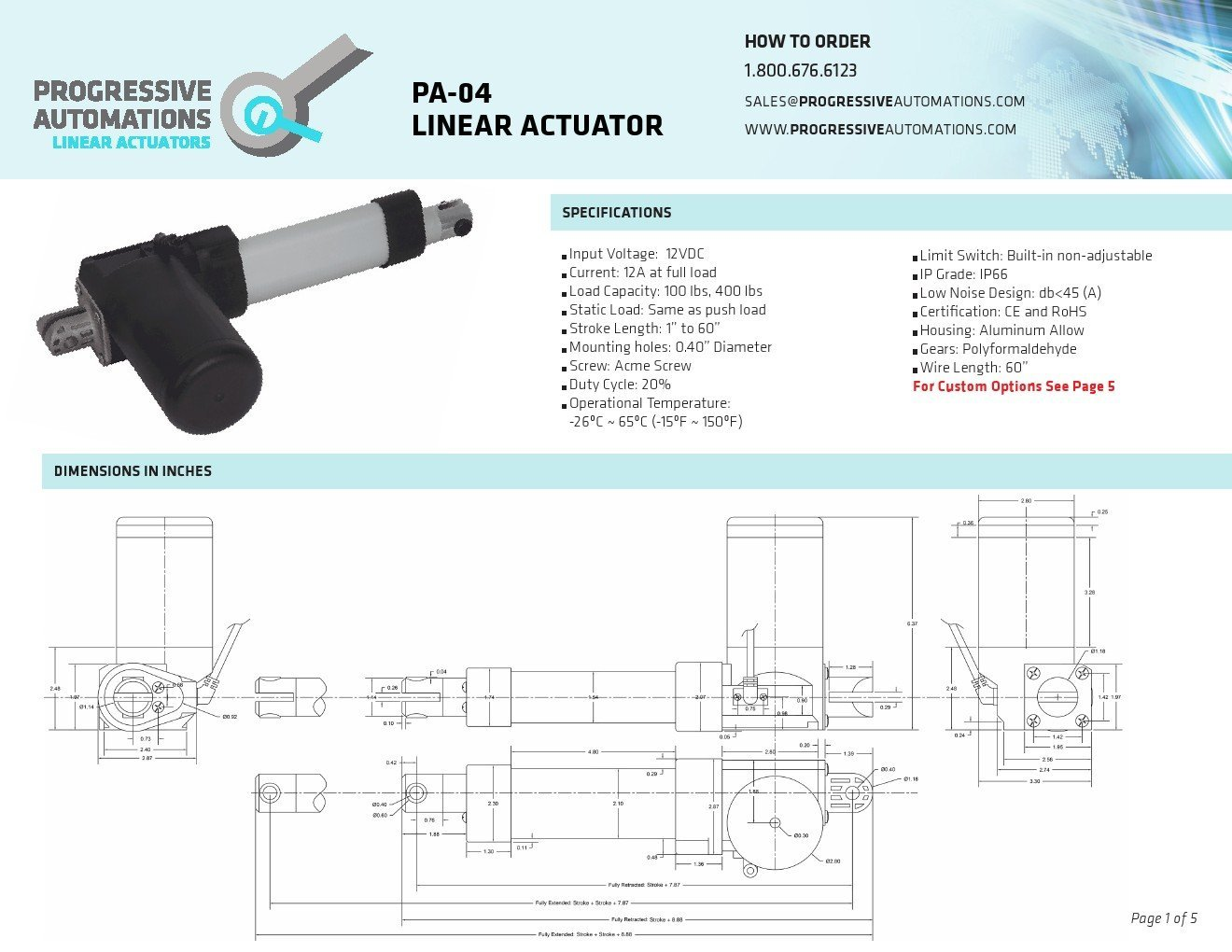 "Progressive Automations Linear Actuator - IP66 - Stroke Size 24"", Force 400  lbs, Speed 0.98""/sec - 12 VDC: Amazon.com: Industrial & Scientific"