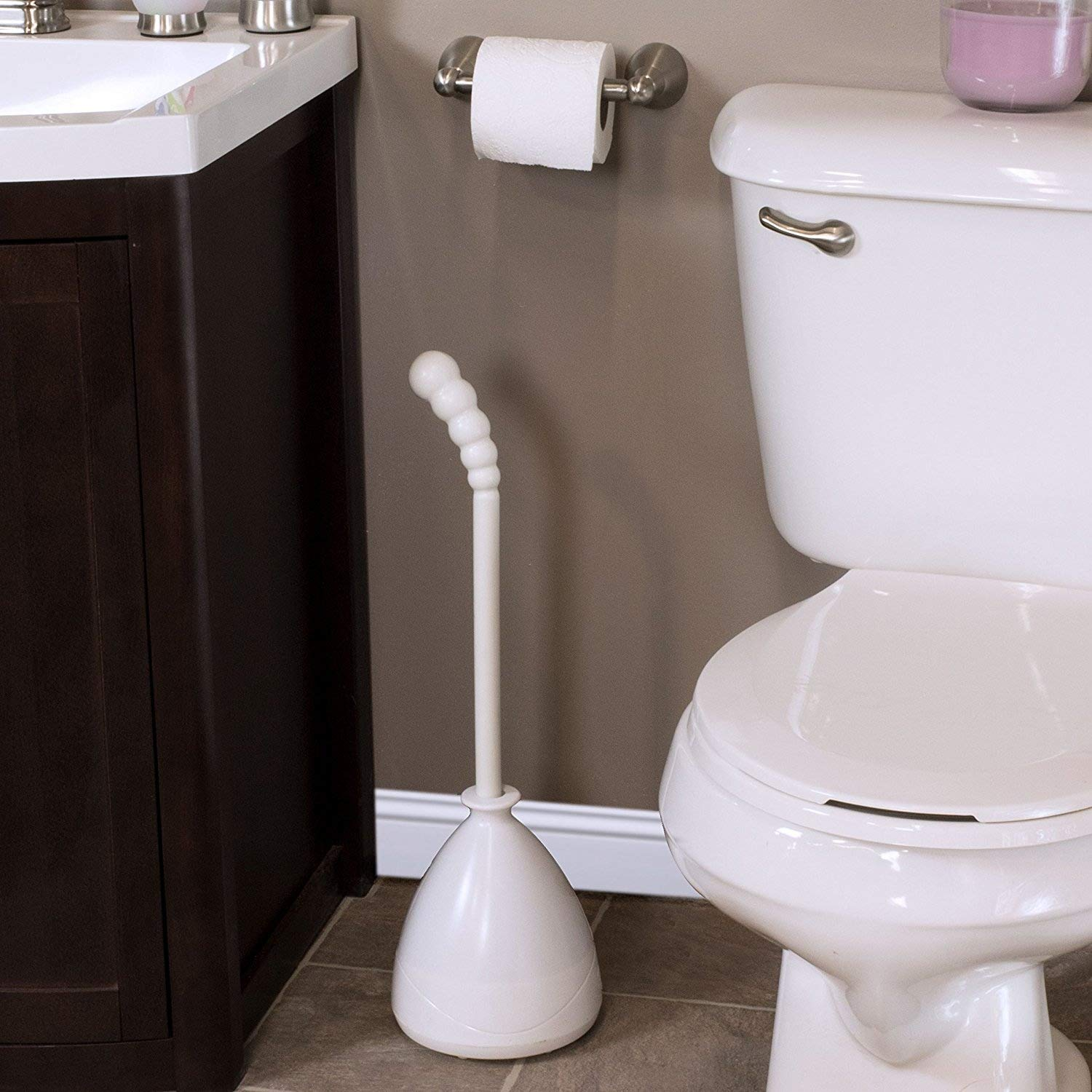 Deluxe Heavy Duty Toilet Plunger with Easy-Lift Storage Caddy Holder