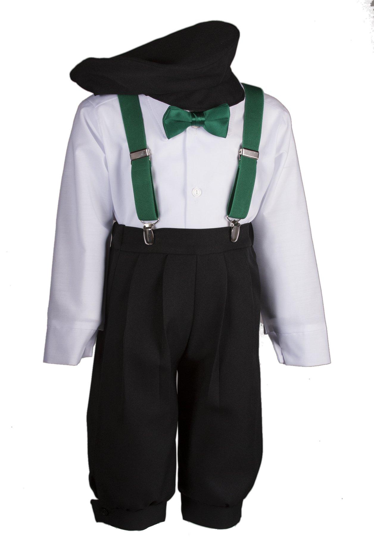Boys Black Knickers Set Pageboy Cap Emerald Suspenders & Bow Tie (4 Boys)