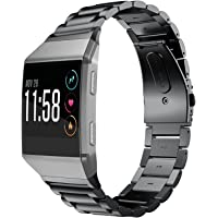 Fitbit Ionic Band, Shangpule Stainless Steel Metal Replacement Bracelet Strap with Folding Clasp for Fitbit Ionic Smart Watch(Black)