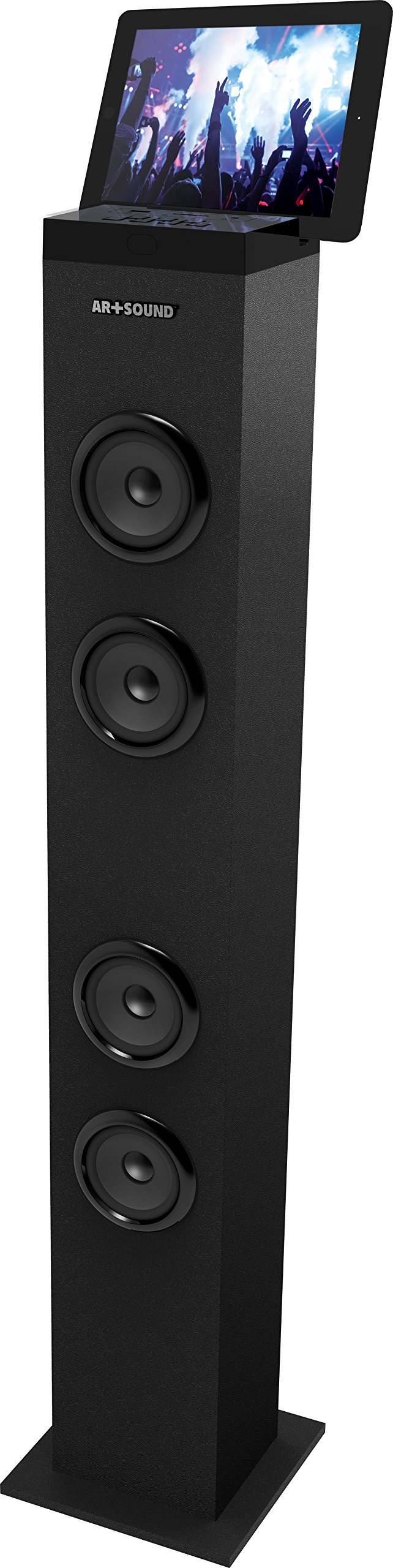 AR+SOUND AR1001-SK Bluetooth Tall Tower Stereo Speaker System with Built-In Radio, Docking Station and Remote Control (Black)