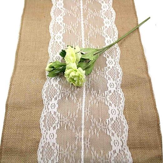 Arpillera de encaje Burlap yute Natural camino de mesa para boda ...