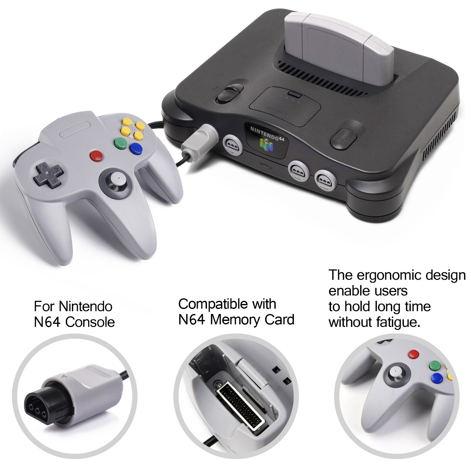 2xClassic 64 N64 Controller,kiwitata Retro Wired Gamepad Controller Joystick for N64 Console Nintendo 64 Video Games System Black+Gray by kiwitatá (Image #7)