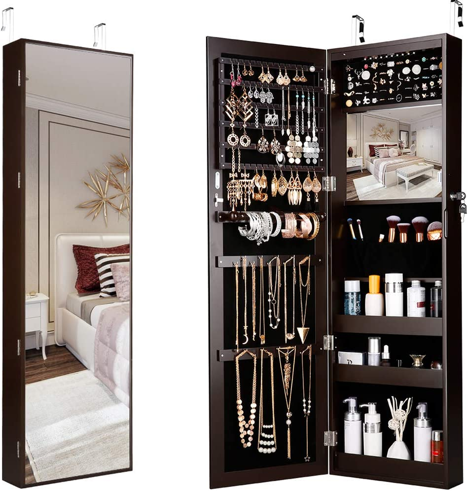 Wall/Door -Mount Hanging Mirror Jewellery Cabinet Armoire Full-Length Lockable with LED Lights for Necklaces Rings Bracelets,Brown