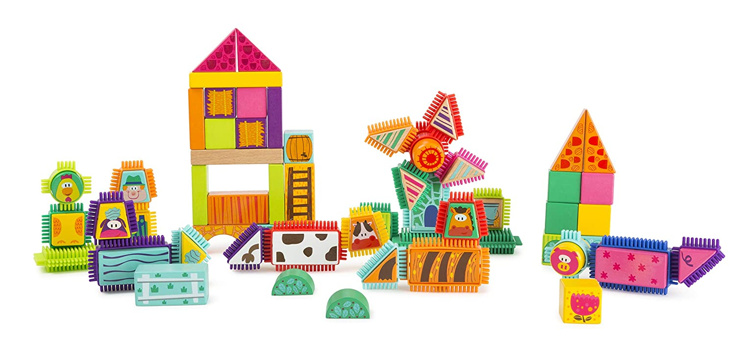 Small Foot Wooden Toys Farm Theme Wood and Knobs Building Blocks 80 Piece playset Designed for Children 12+ Months