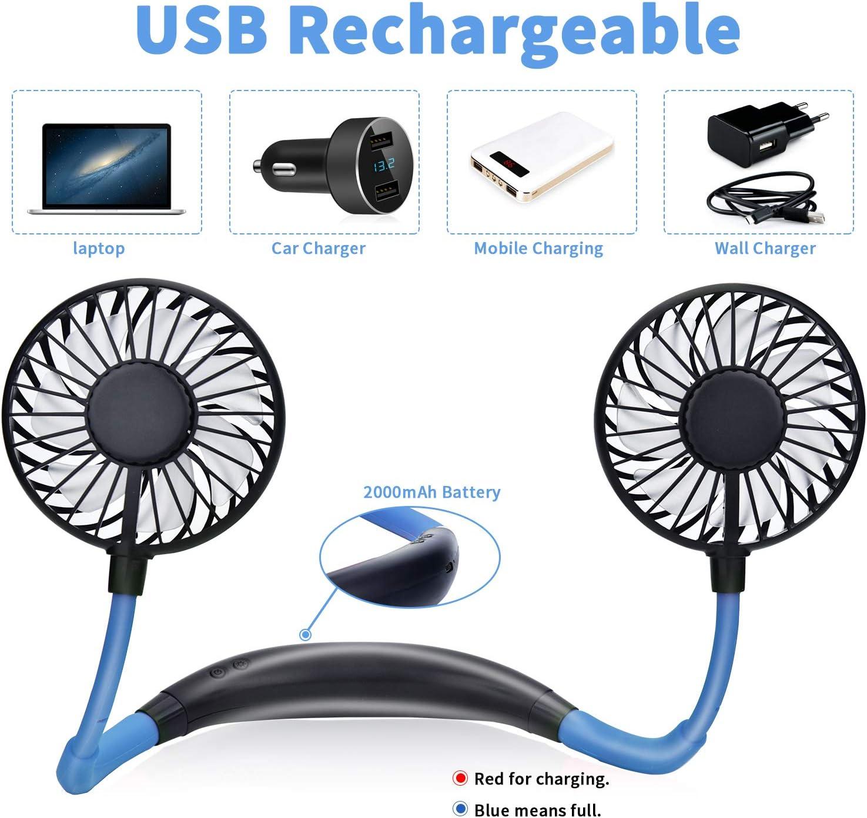 Mini Ventilateur USB Rechargeable,Ventilateur Portable Nuque 2000mAh 3 Vitesses avec Lumi/ères LED 360/°de Rotation pour Bureau Room Voyage,Rouge 2 Mains Libres Ventilateur de Cou Ventilateur Portable