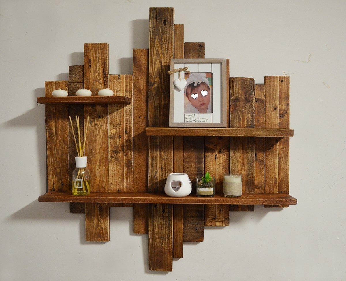 Estante de madera unidad de pared rústico hecho de paletas de ...