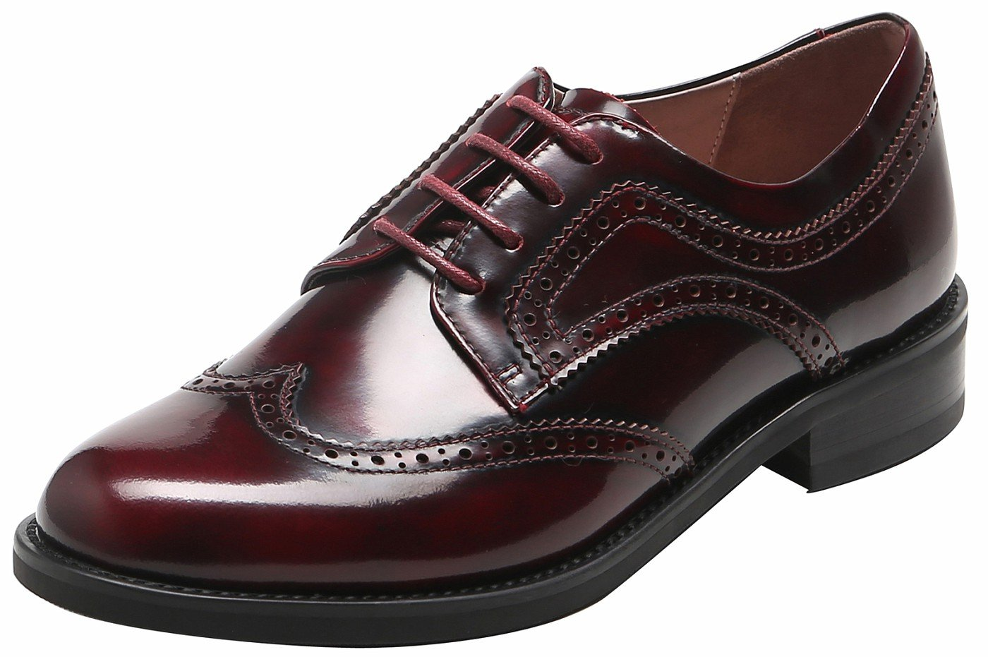 U-lite Women's Perforated Lace-up Wingtip Pure Color Leather Flat Oxfords Vintage Oxford Shoes Burgund-2 8