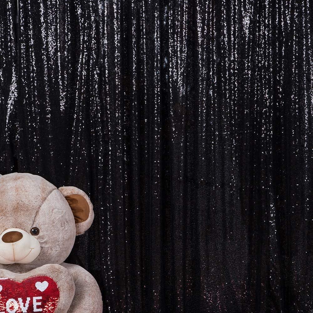 Sequin Backdrops Black Sequin Background Elegant Fabric Backdrop for Newborn Baby Wedding Decoration