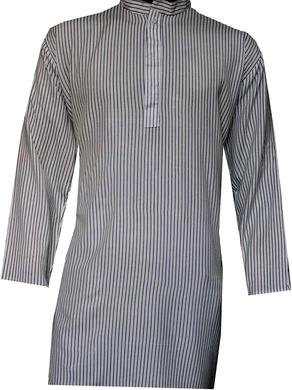 Lakkar Haveli Mens Indian Tunic Button Down Shirts Shirt Kurta Solid Cream Color 100/% Cotton Short Sleeve Big Tall