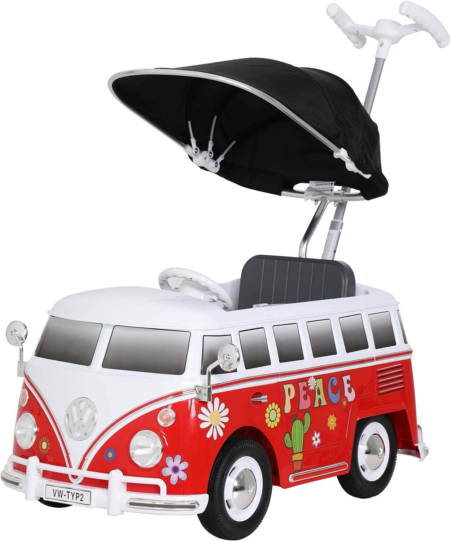 Rollplay- VW Bus Flower Power Push Car, Rojo, Color (49313)