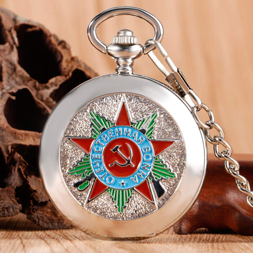 Luxury Pocket Watch, Silver Russia Soviet Sickle Hammer Communism Badge Pocket Watch, Vintage and Retro Gift for Men by mygardens (Image #2)