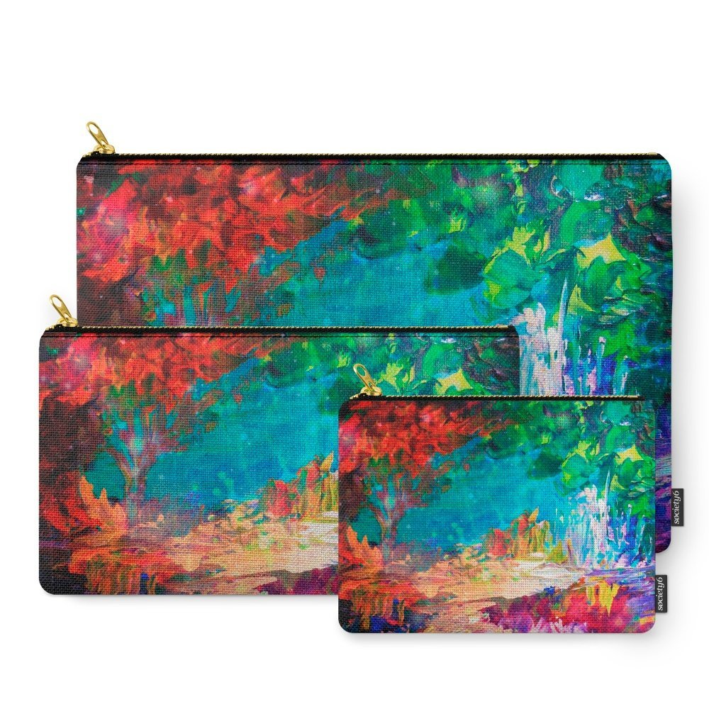 Society6 WELCOME TO UTOPIA Bold Rainbow Multicolor Abstract Painting Forest Nature Whimsical Fantasy Fine Art Carry-All Pouch Set of 3