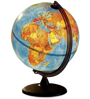 HearthSong® Electric Illuminated Orion Relief World Globe Detailed  Educational Geographic Learning Toy Sturdy Non Tip