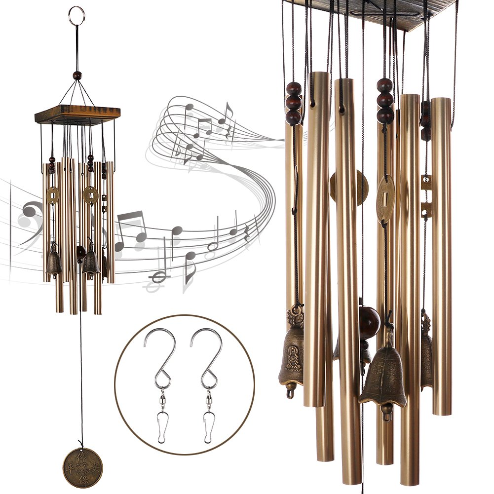 HankRobot Wind Chime Bronze Mental Music Chimes 8 Tubes 4 Bells 5 Chinese Traditional Copper Coins 2 S Hooks Pure Handmade Wind Chimes Indoor Outdoor for Home and Garden(Long 26.4inch)