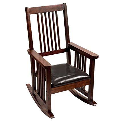 GiftMark Mission Style Kids Rocking Chair With Upholstered Seat, Style D,  Cherry