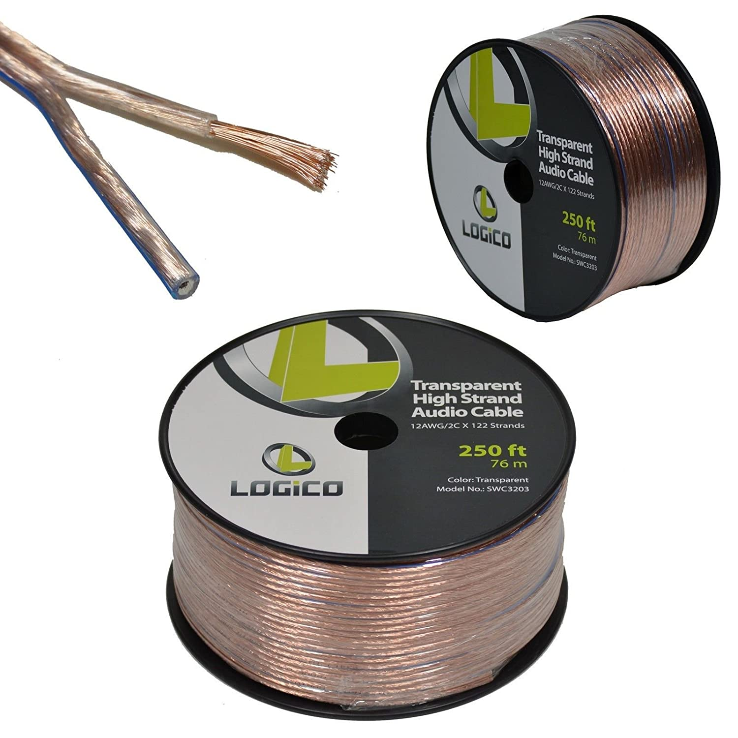 Amazon.com: 12/2 250FT 12AWG GAUGE 2 CONDUCTOR TRANSPARENT HIGH ...
