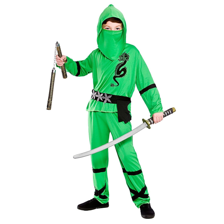 Amazon.com: BoyS Green Power Ninja Fancy Dress Costume ...