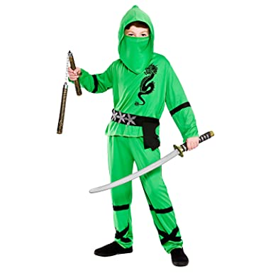 Green Power Ninja - Kids Costume 3 - 4 years  sc 1 st  Amazon UK & Boys Power Ninja Green Black Fancy Dress Up Party Costume Halloween ...