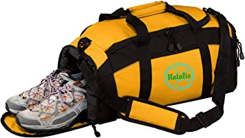 Gold Personalized Hockey Sports Duffel Bag with Custom Text Gym Bag with Customizable Embroidered Monogram Design