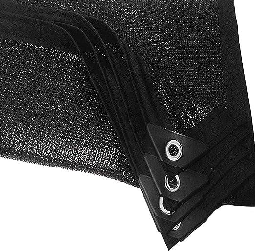 Red de Sombra Borde Tapado En Tela De Cortina De Protección Solar Negra con Ojales, 90