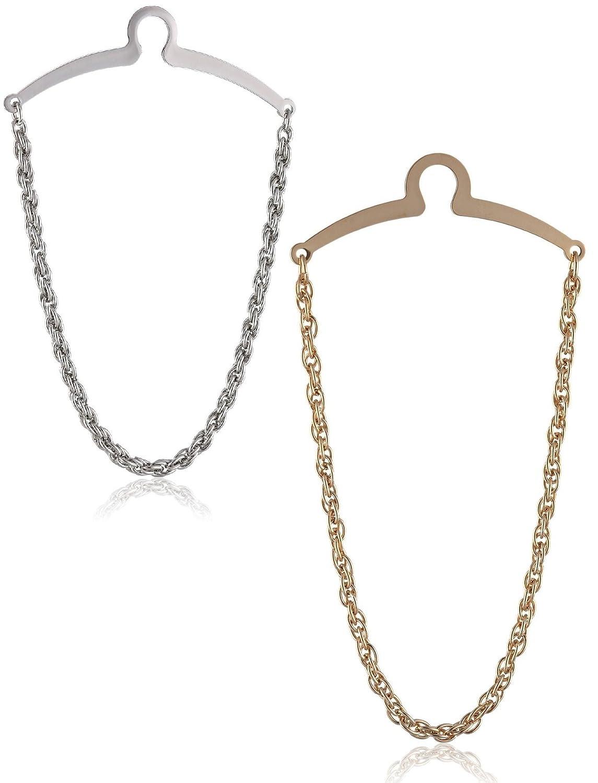 2 Pc Premium Tie Chain Set, Silver and Gold Tone Gift Boxed PC-TC-SET-9-C