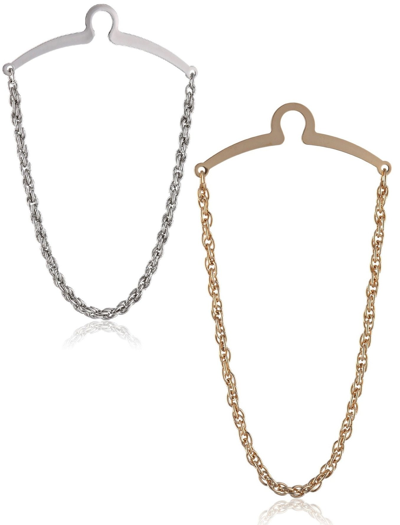 2 Pc Premium Tie Chain Set, Silver and Gold Tone Gift Boxed