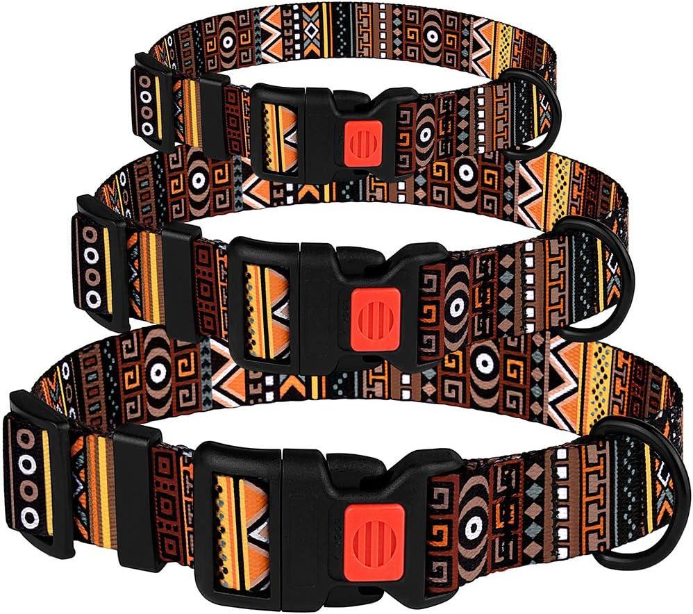CollarDirect Tribal Dog Collar Aztec Pattern Adjustable Nylon Pet Collars for Small Medium Large Dogs Puppy
