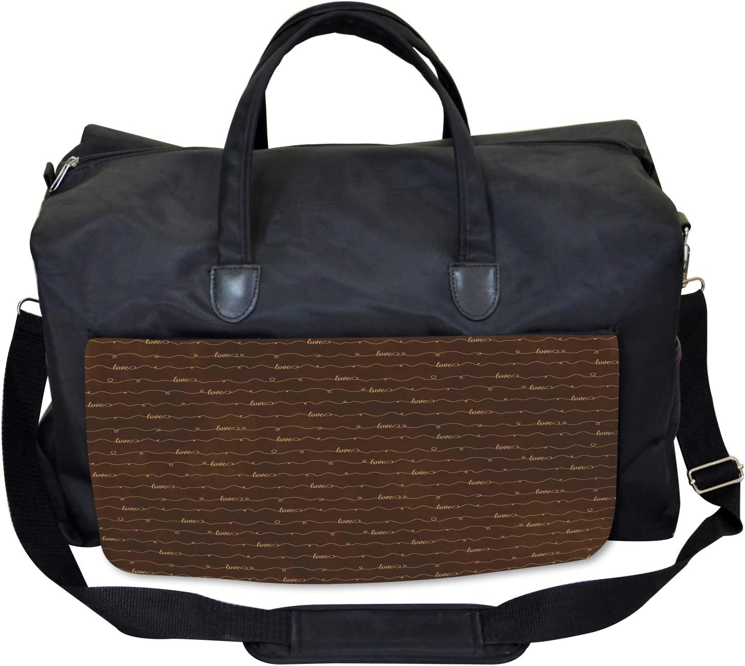 Ambesonne Brown Gym Bag Hope Love Fun Happy Quote Large Weekender Carry-on
