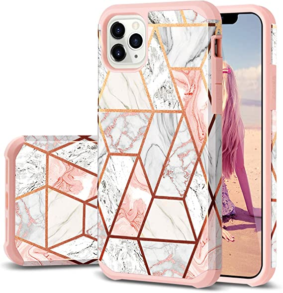 Amazon Com Iphone 11 Pro Max Case Fingic Rose Gold Marble Design Shiny Glitter Bumper Hybrid Hard Pc Soft Rubber Anti Scratch Shockproof Protective Case Cover For Apple Iphone 11 Pro Max Case 2019