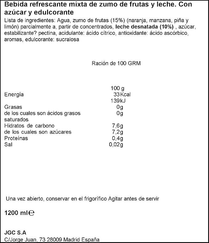 Don Simón Fruta + Leche Caribe zero materia grasa sin azucares añadidos, pack 6 x 200ml: Amazon.es: Amazon Pantry