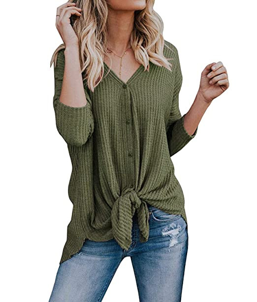 Image Unavailable. Image not available for. Color  Womens Waffle Knit  Button Tunic Blouses Tie ... 38ef4e138