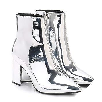 4cf6d1b4a73 Eileen Silver Gold Women Ankle Boots Pointed Toe Chunky High Heel Boots  Mirror Metallic Women Pumps
