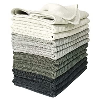 VibraWipe Microfiber Cleaning Cloths, 4 Shades of Gray, 12 Pieces. 14.2 in x 14.2 in. Color Options Available. Highly Absorbent, Lint-Free, Streak-Free, for Household, Kitchen, Car Detailing