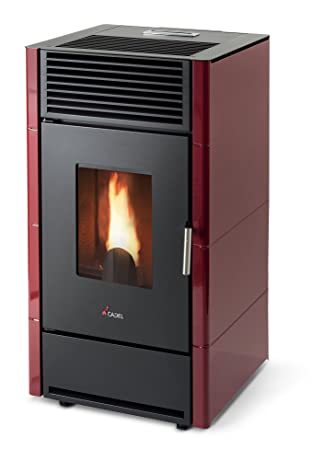 Pellet stove Cadel Cristall 8.5 kW Red: Amazon.co.uk: Garden ...