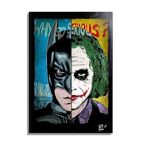 Batman Dark Knight Vs Joker Heath Ledger Dc Comics Pop Art Original Framed Fine Art Painting Image On Canvas Artwork Movie Poster