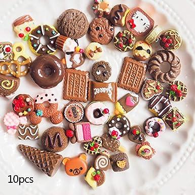 Viesky10pcs/pack de alimentos artificiales aperitivos fruta cabujón juguetes DIY teléfono caso materiales hecho a mano resina manualidades Scrapbooking accesorios, resina, café, 80: Amazon.es: Ropa y accesorios