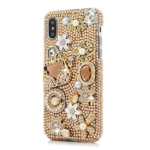 wholesale dealer d3ece 9dd73 iPhone Xs Max Bling Case,iPhone Xs Max Crystal Diamond Case,FreeAir 3D  Handmade Crystal Bling Diamonds Shiny Rhinestone Champagne Bag Soft Case  for ...