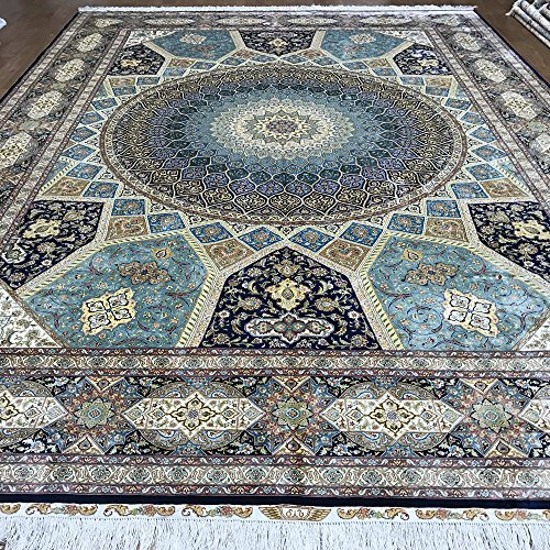 (Yuchen Carpet 10'x14' Large Blue Persian Area Rug Luxury Hand Knotted Silk Carpet For Living Room)