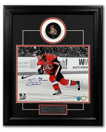 newest 17e6f 0be8d Autographed Erik Karlsson Hockey Puck - Spotligh 23x19 Frame ...