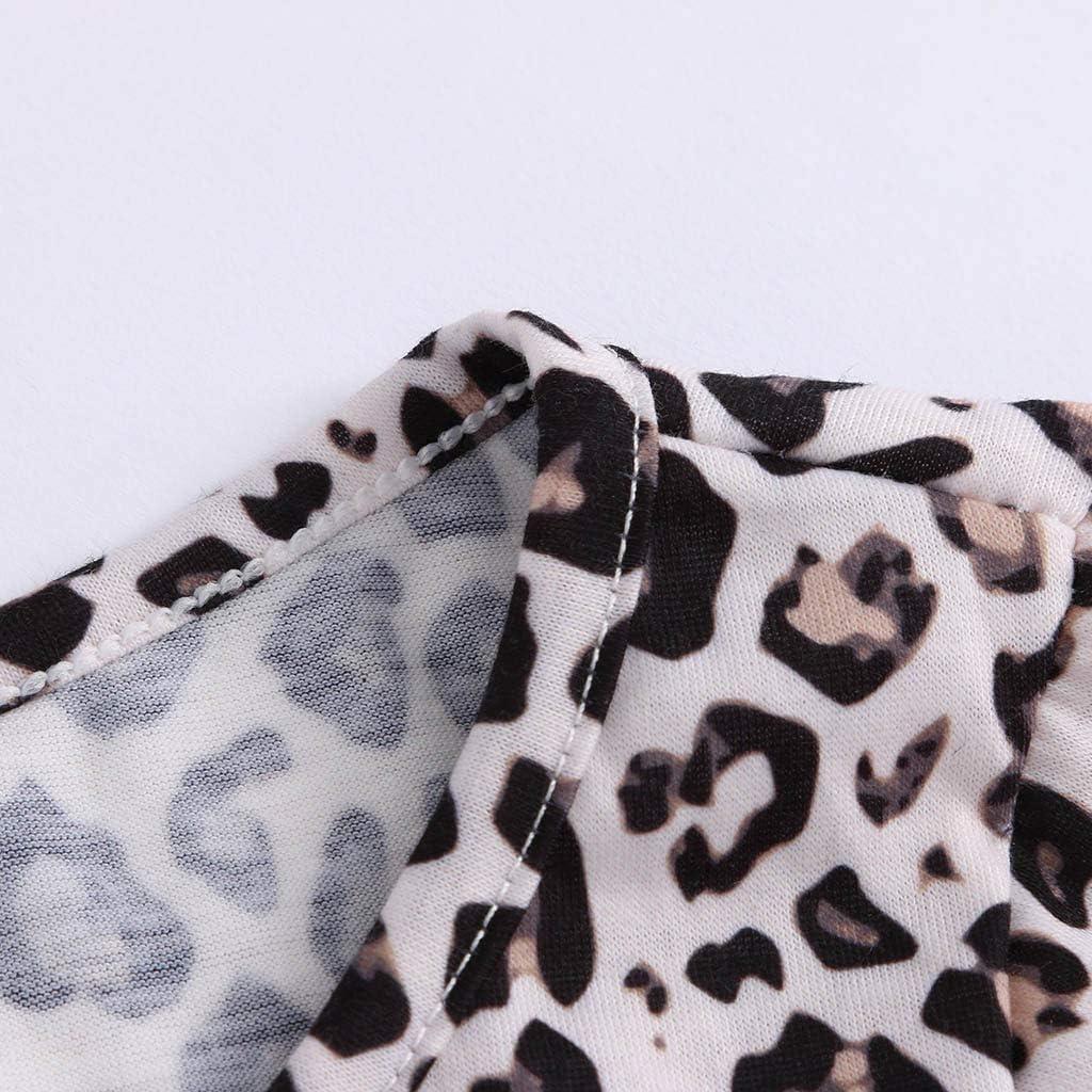 Women Blouses Long Sleeve Round Neck Leopard Print Twist Knot T-Shirt Tops