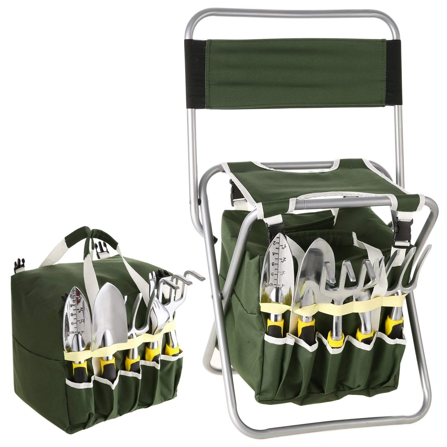 Bluefringe Garden Tool Set- 10 Piece Aluminum Hand Tool Kit, with Garden Folding Stool Seat,All-In-One Tool Bag,Outdoor Tool,Heavy Duty Gardening Work Set with Ergonomic Handle