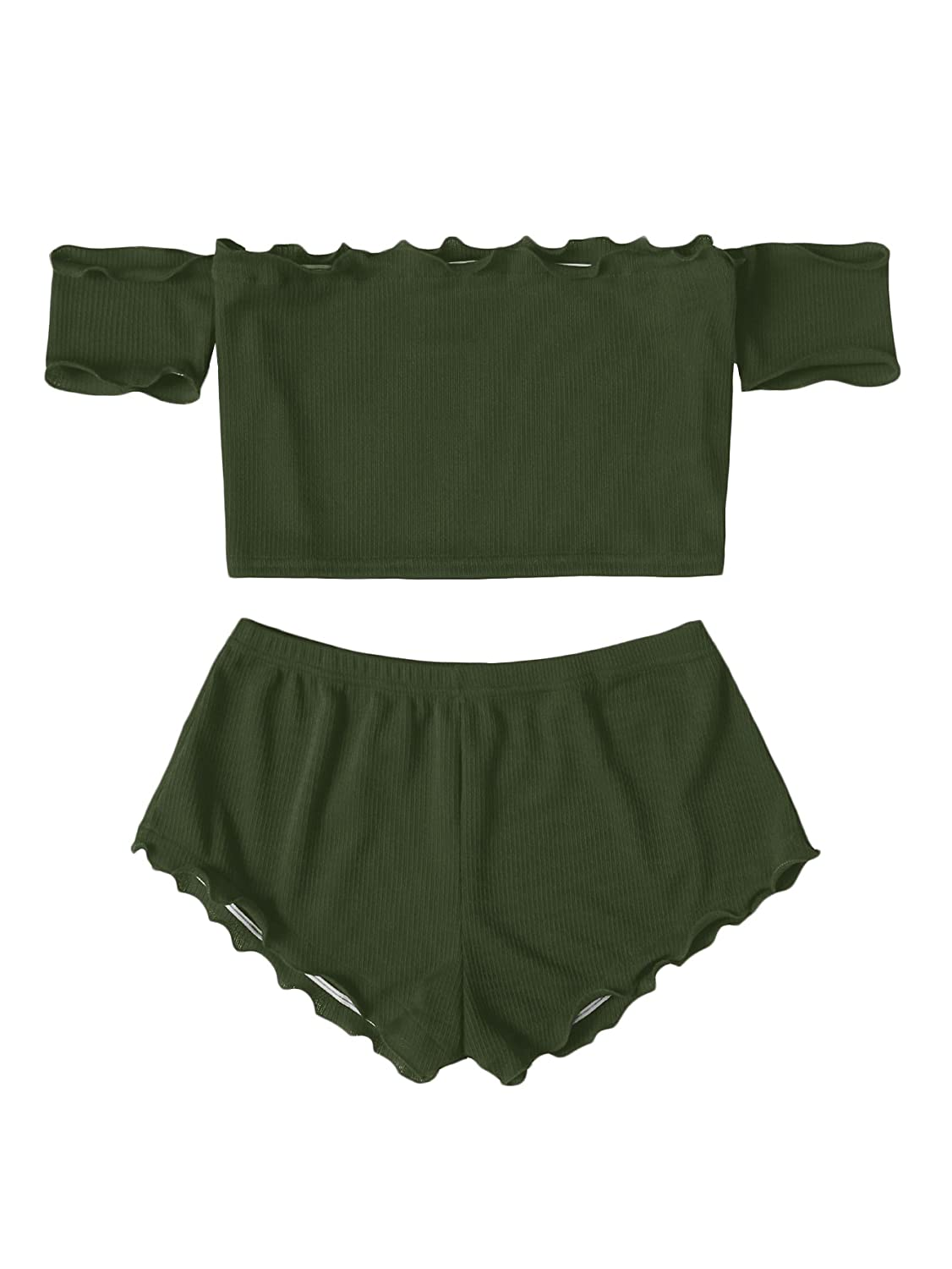922709bec0b Amazon.com: Romwe Women's Off The Shoulder Lettuce Edge Crop Top with  Shorts Ribbed Romper and Jumpsuit Army-Green L: Clothing