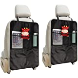 MATCC 2 PCS Kick Mats Seat Back Protector Waterproof Kick Mat Car Organiser Car Seat Protector Universal Size Heavy Duty Kick and Stain Protection with Storage Pockets for Kids