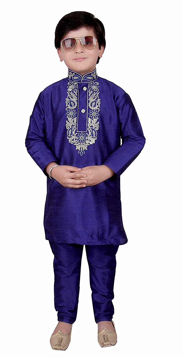 Boys Blue Raw Silk kurta with matching pyjama kids salwar kameez sherwani 923