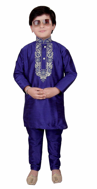Boys Blue Raw Silk kurta with matching pyjama kids salwar kameez sherwani 923