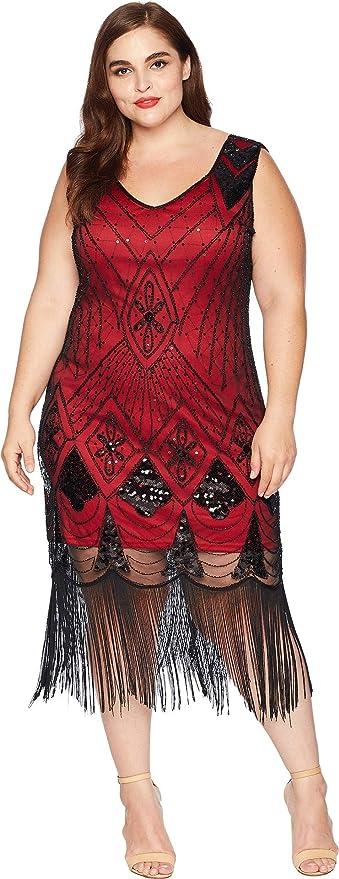 6e0fa1fe Unique Vintage Women's Plus Size Sequin Lina Fringe Flapper Dress Red/Black  3XL (US 18) at Amazon Women's Clothing store: