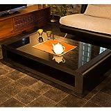 innovationlife ブラックガラス モダンデザインテーブル 120cm幅 ブラック