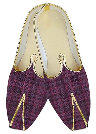 Mens Pink Checks Poly Viscose Wedding Shoes MJ015611